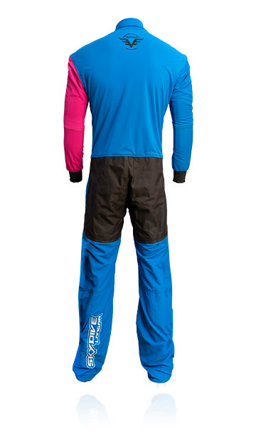Back photo of our Basic / instructor skydive / skydiving suit. This suit has been specifically designed for slow fall rates and durable hard wearing work wear for professional skydivers
