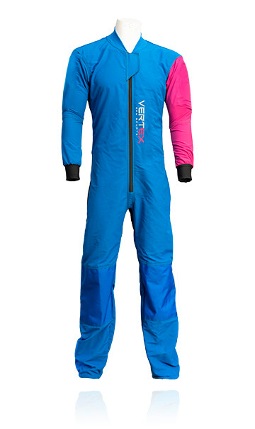Photo of our Basic / instructor skydive / skydiving suit. This suit has been specifically designed for slow fall rates and durable hard wearing work wear for professional skydivers.