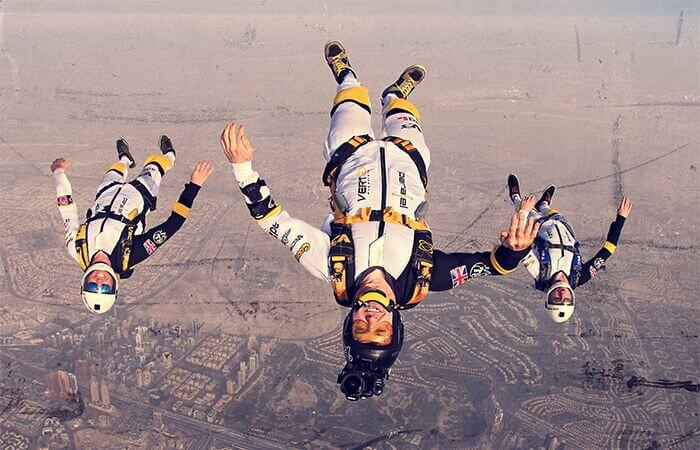 Professional skydiving freefly team parallel freefly. Skydiving over dubai.