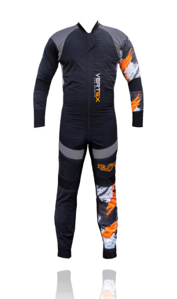 The back photo of our FLEX freefly skydive suit by skydiving company Vertex sky sports UK