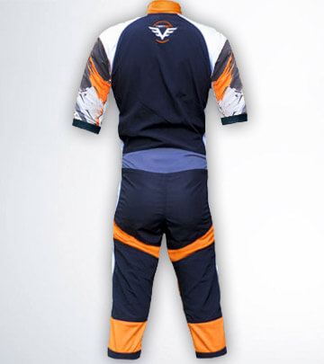 The back photo of our FLEX Shorty freefly skydive summer suit by skydiving company Vertex sky sports UK