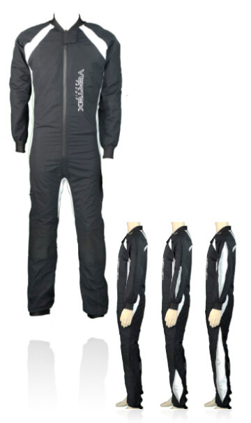 Photo of our Prozip instructor skydive / skydiving suit. This suit has been specifically designed for adjusting fall rates of a professional skydive / skydiving instructor.